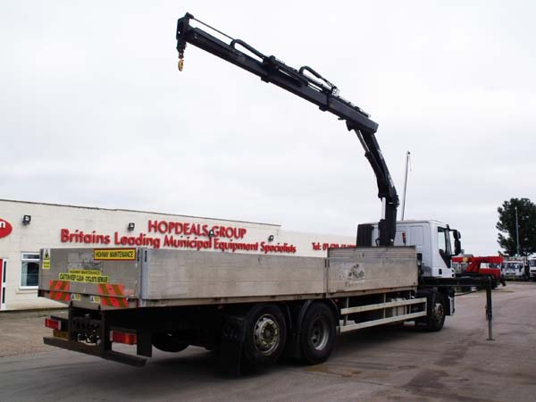 Ref: 161 - 2008 Iveco Drop side crane lorry For Sale